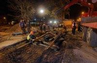 В Днепре ночью провели капитальный ремонт трамвайного пути на ул. Сикорского