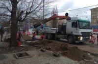 В Днепре на пересечении пр.Слобожанском и ул.Калиновой строят новую остановку (ФОТО)