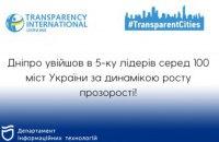 Дніпро – єдиний обласний центр України, який увійшов до п'ятірки лідерів рейтингу «Transparent cities»
