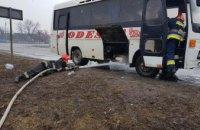 В Винницкой области загорелся автобус с пассажирами
