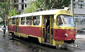 В Днепропетровске в вагон трамвая бросили дымовую шашку