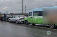 В Днепре на путепроводе столкнулись 5 автомобилей (ФОТО)