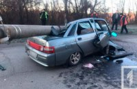 На Днепропетровщине на пьяную компанию в авто упал столб (ФОТО)