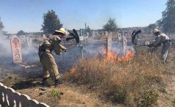 В Пятихатках загорелось кладбище