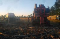 В Софиевском районе горел зерноуборочный комбайн