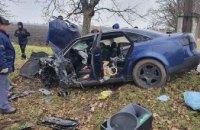 В Днепропетровской области Audi A6 слетел с дороги и врезался в дерево: есть пострадавшие