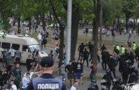 Появились фотографии с места столкновения футбольных фанатов с полицией