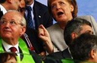 Ангела Меркель празднует победу сборной Германии